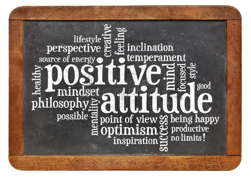 Positive attitude concept on blackboard stock images