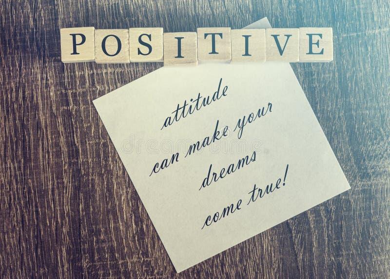 Positive attitude quote stock image