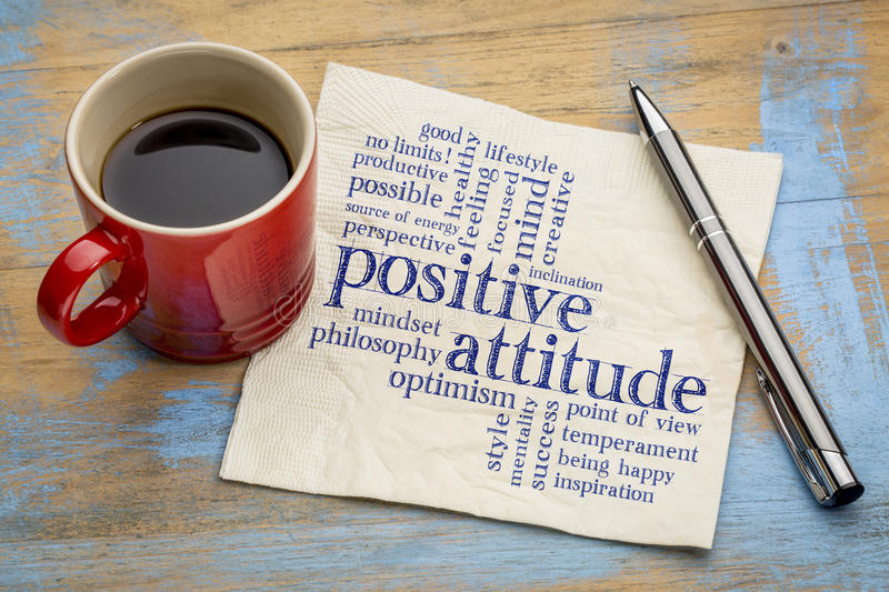 Positive attitude word cloud on napkin royalty free stock image
