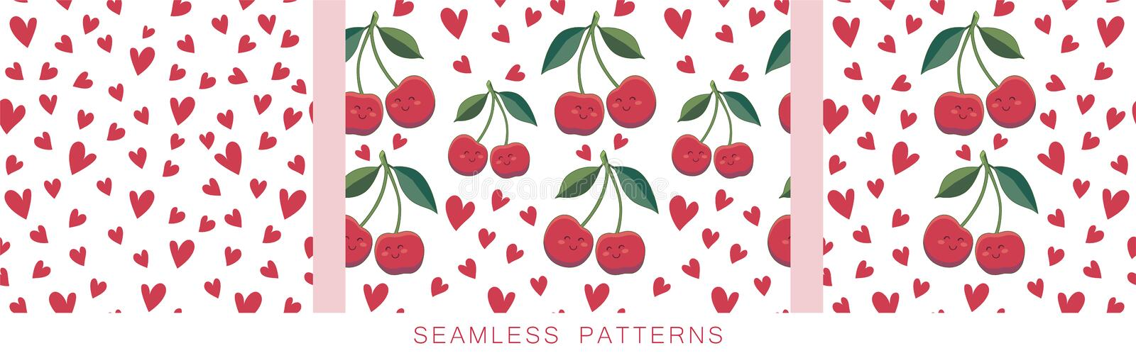 Positive backgrounds. Vector seamless pattern with red hearts and cherries repeated on white. Endless texture. Cute vector illustration