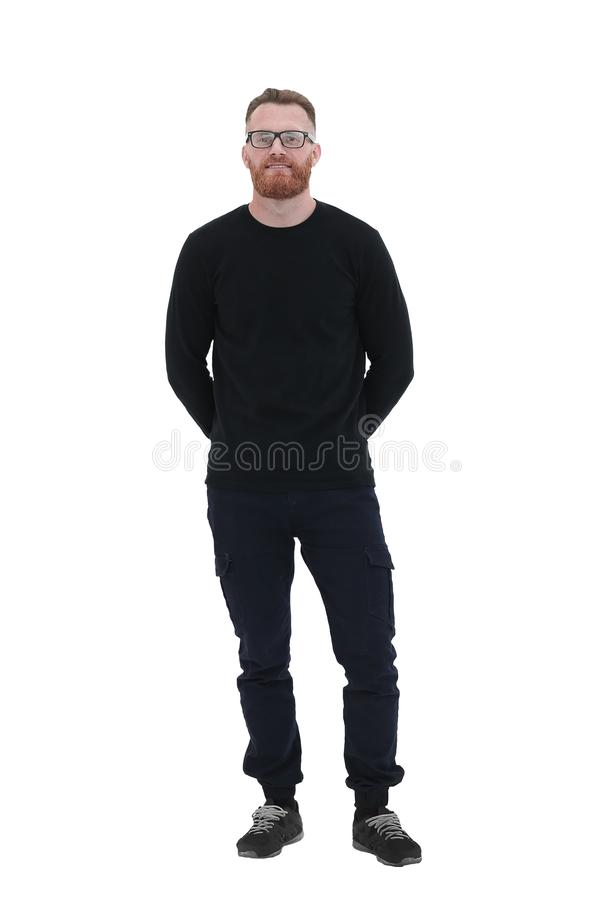 Positive bearded man with glasses . isolated on white royalty free stock image