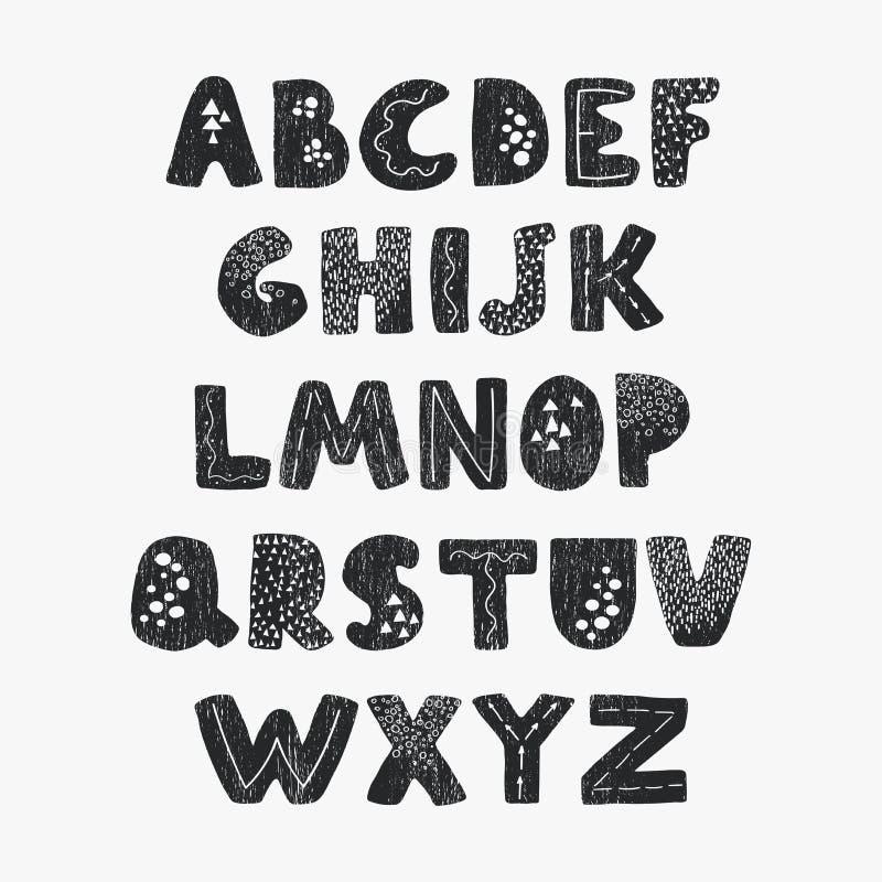 Positive black and white alphabet for children royalty free illustration