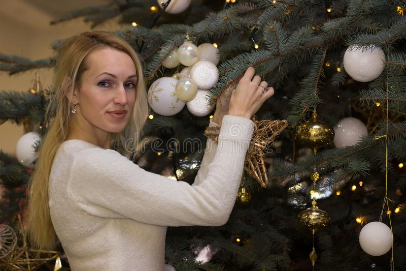 Positive long hair woman celebration Christmas. Positive blonde long hair woman celebration Christmas stock images