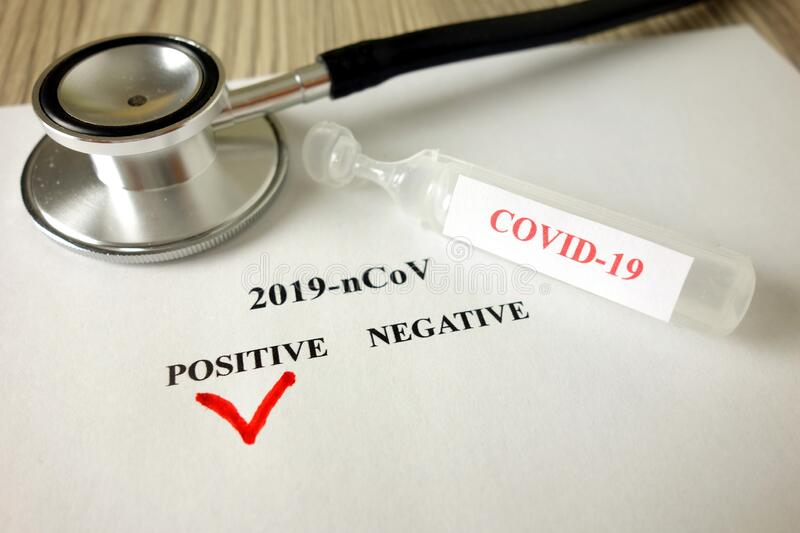 Positive blood test result for Coronavirus, 2019-nCoV spreading concept royalty free stock image