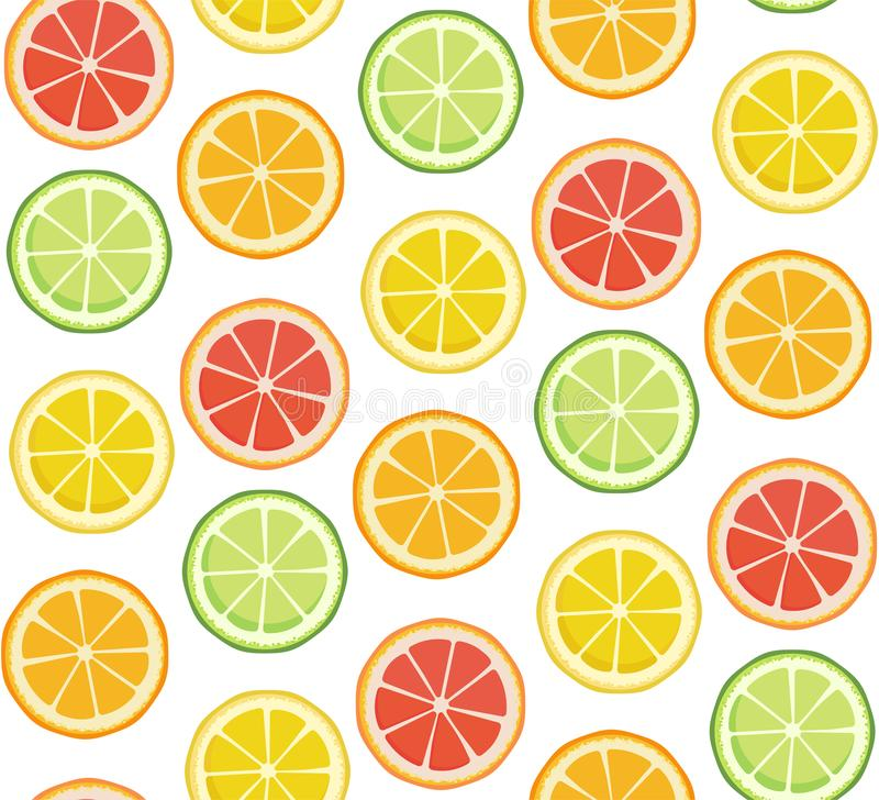 Positive bright summer fruit background in green yellow red orange colors. Vector seamless pattern. Endless texture with. Lime lemon orange grapefruit slices royalty free illustration