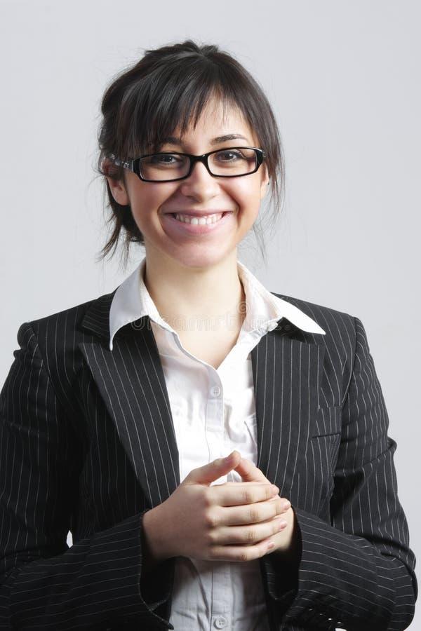 Positive Brunette Businesswoman Stock Photo