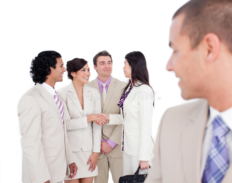 Positive Business Co-workers Shaking Hands Stock Image