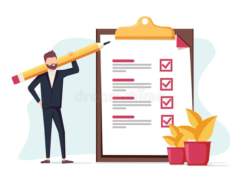 Positive business man with a giant pencil on his shoulder nearby marked checklist on a clipboard paper. Successful completion of business tasks. Flat vector vector illustration