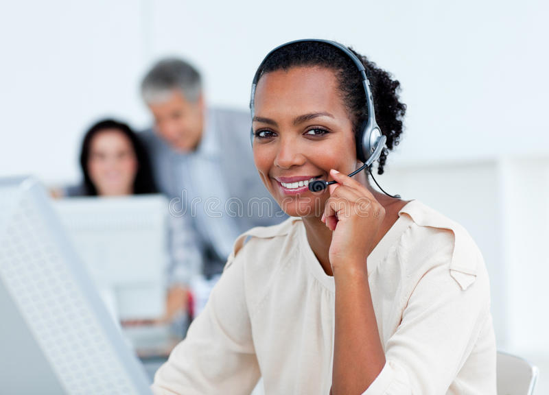 Download Positive Business Partners Working At Computers Stock Image - Image: 13153771