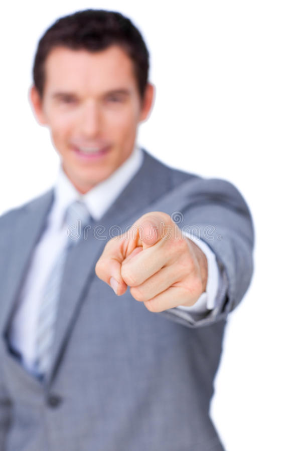 Download Positive Businessman Pointing At The Camera Stock Photo - Image: 12518960
