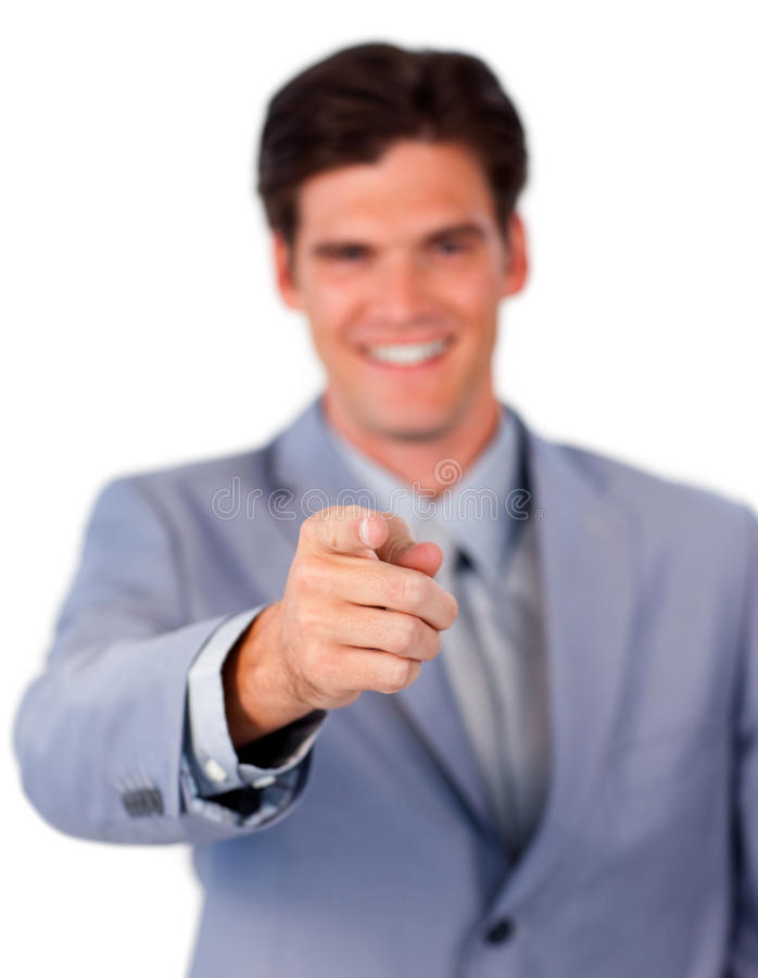 Download Positive Businessman Pointing At The Camera Stock Photo - Image: 12618300