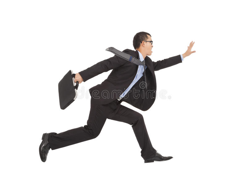 Positive Businessman Running To Catch Goal Royalty Free Stock Photos