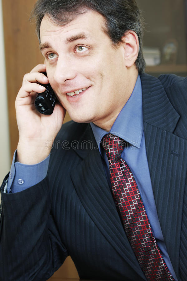 Download Positive Businessman Talking Via Phone Stock Photo - Image: 12575170