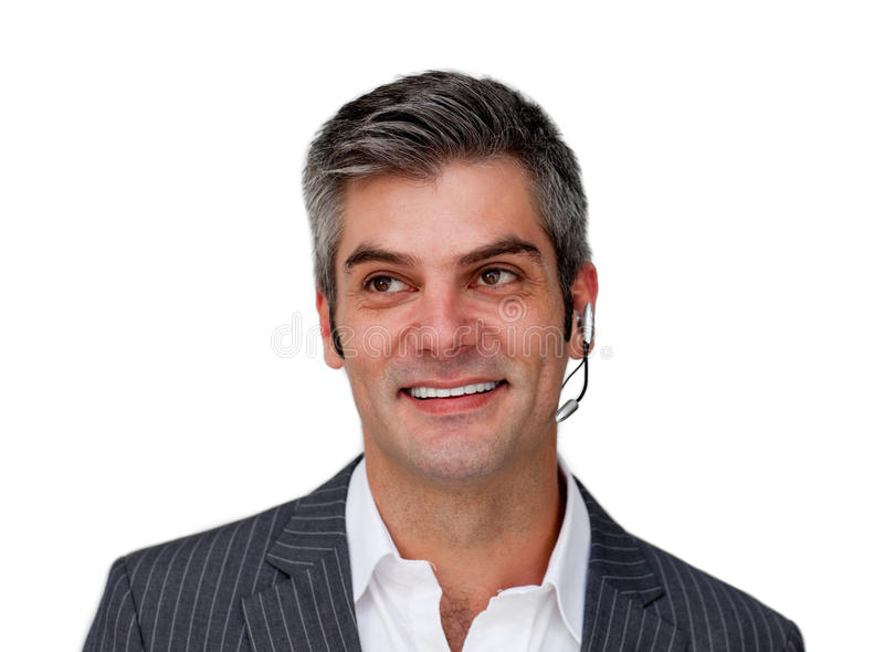 Positive Businessman Using Headset Royalty Free Stock Photography