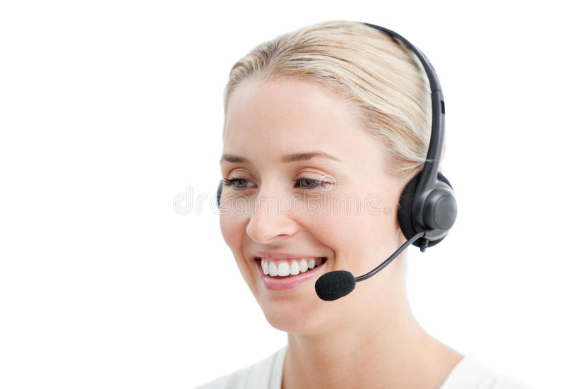 Download Positive Businesswoman With Headset On Stock Image - Image: 14175121