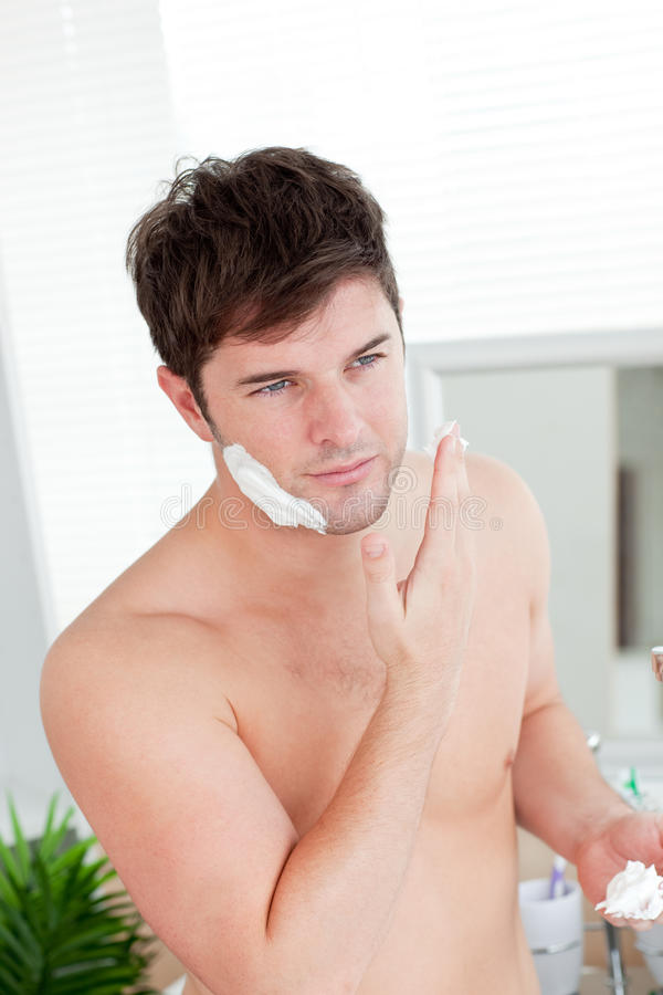 Positive Caucasian Man Ready To Shave Stock Photography