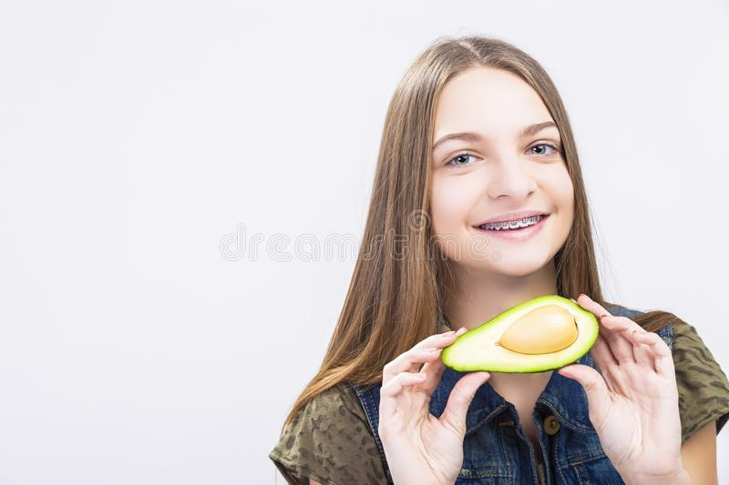 Positive Caucasian Teenager Girl Wearing Teeth Braces royalty free stock images