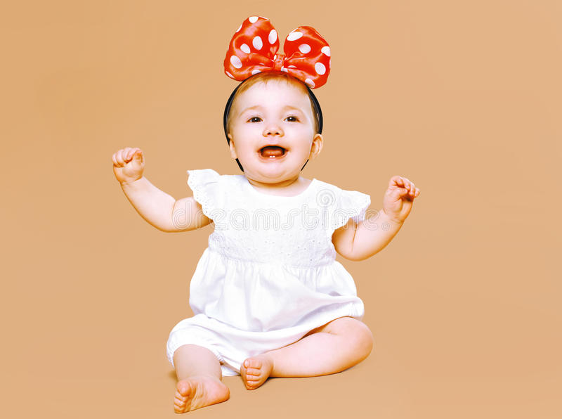 Positive charming little child having fun stock photo