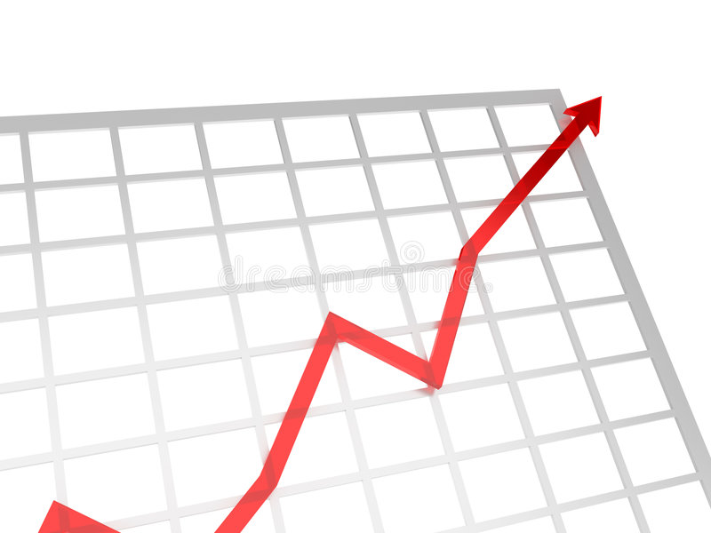 Positive chart. Positive red chart showing success business stock illustration