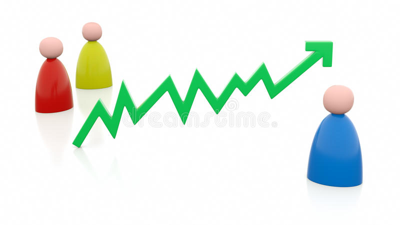 Positive chart line with people stock photo