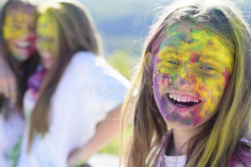 Positive and cheerful. children with creative body art. Happy youth party. Optimist. Spring vibes. colorful neon paint. Makeup. Crazy hipster girls. Summer royalty free stock photography