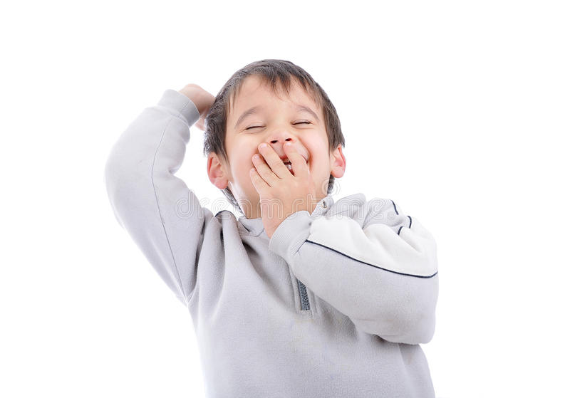 Positive child isolated. Laughing and gesturing stock image