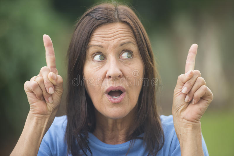 Positive Creative Woman Finger Up Outdoor Stock Images
