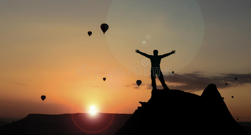 Positive day start & balloons and sunrise. Unusual sunrise views.Landscape and ballloons royalty free stock images