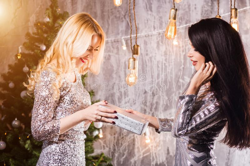 Positive delighted women giving each other Christmas gifts. New Year, holiday, celebration, winter concepts royalty free stock photo