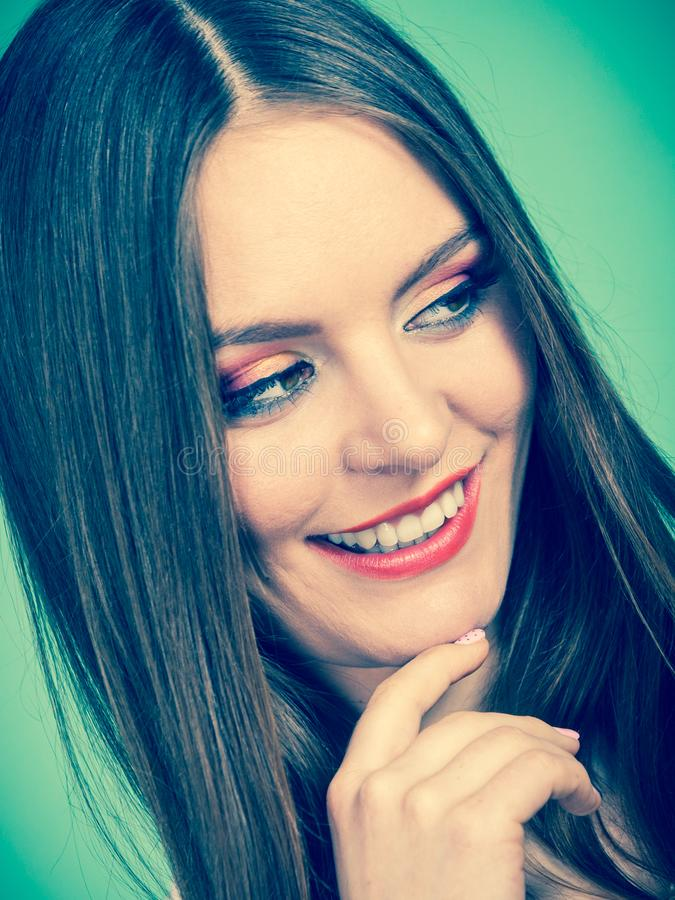 Smiling attractive woman with full makeup stock photos