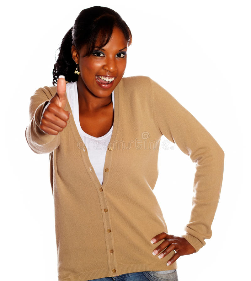 Download Positive Ethnic Woman Lifting The Fingers Up Stock Photo - Image: 26752900