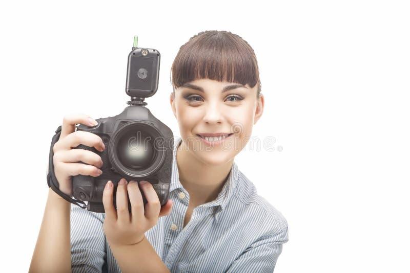 Positive Female Professional Photorgapher stock photography