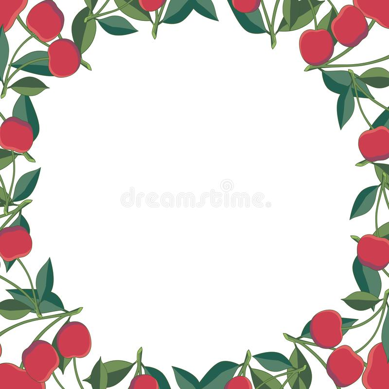 Positive floral frame with red cherries and green leaves. Floral wreath.Template for your design, greeting card, festive stock illustration