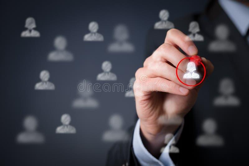 Positive gender discrimination. Marketing segmentation and targeting, personalization, individual female customer care (service), customer relationship royalty free stock images