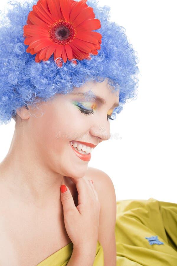 Positive Girl With Blue Hair Stock Photos