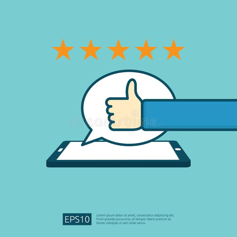 positive good review with hand thumb up symbol on phone social media notification. five stars service or product rate stock illustration