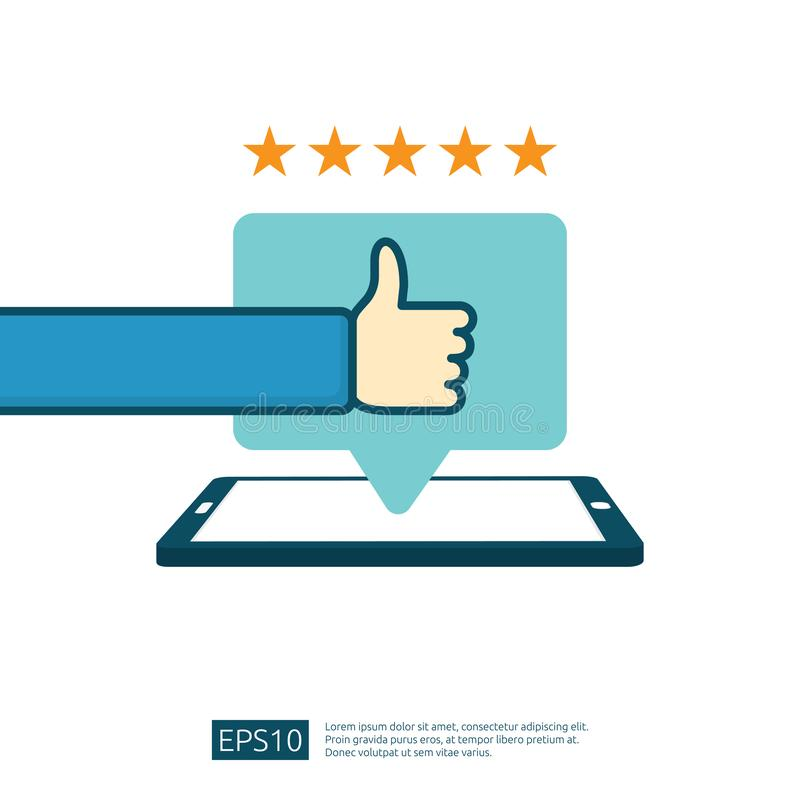 positive good review with hand thumb up symbol on phone social media notification. five stars service or product rate royalty free illustration