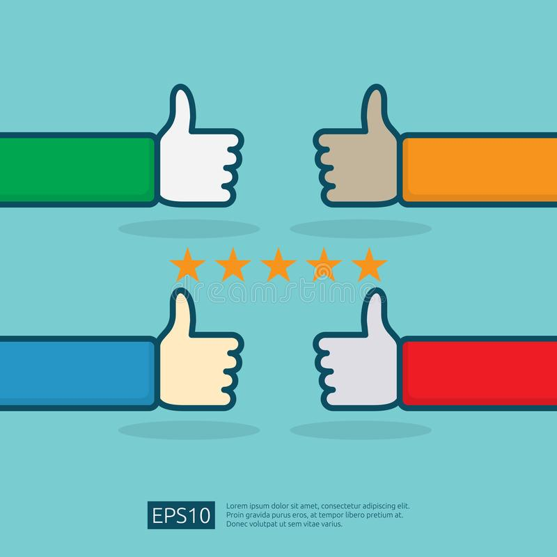 positive good review with hand thumb up symbol on social media. five stars service or product rate recommendation opinion and stock illustration