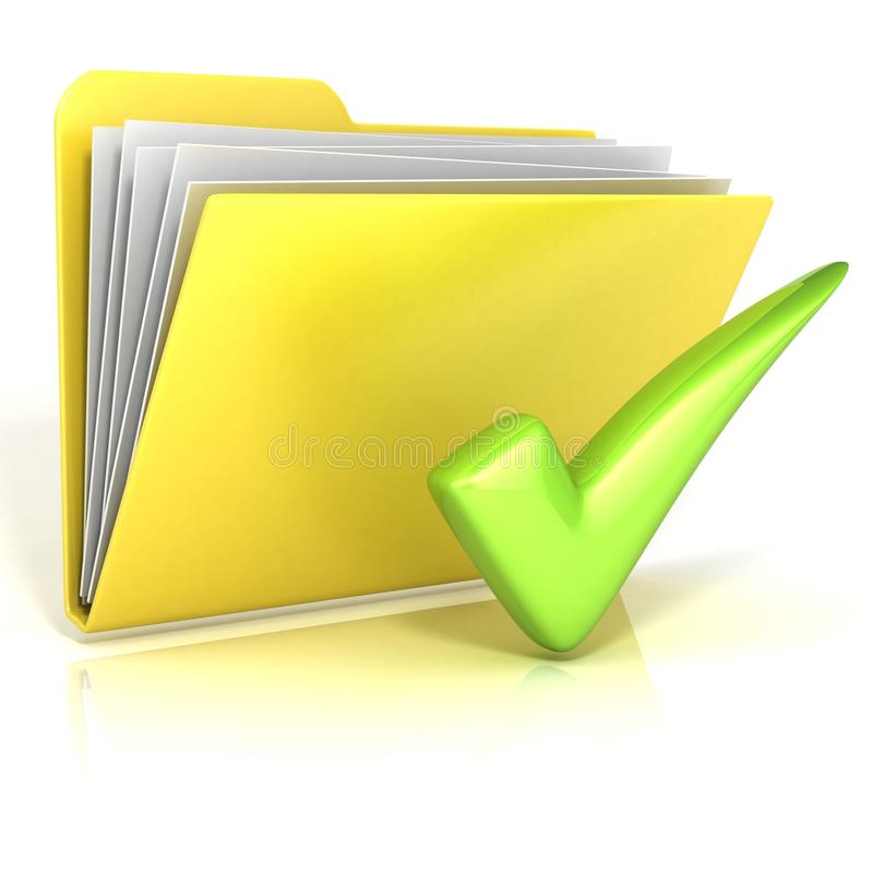 positive green check mark folder icon stock illustration