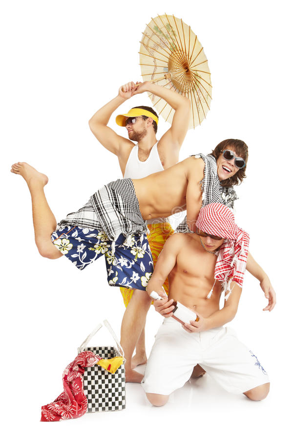 Positive group of young people in summer clothes. stock photos