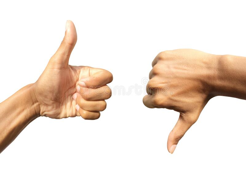 Positive hand thumb up and negative hand thumb down  isolated on white background. Design with clipping path, concept for like or royalty free stock photography