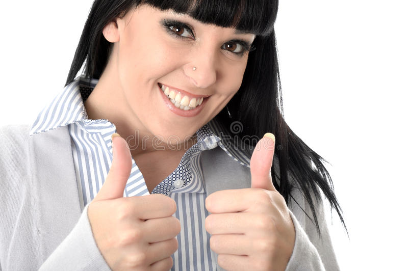 Positive Happy Cheerful Woman with Thumbs Up Smiling. Happy positive cheerful Young Woman with long straight black hair and hispanic or european features royalty free stock photos