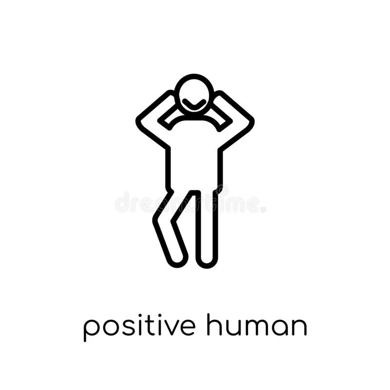 Positive human icon. Trendy modern flat linear vector positive h. Uman icon on white background from thin line Feelings collection, editable outline stroke royalty free illustration