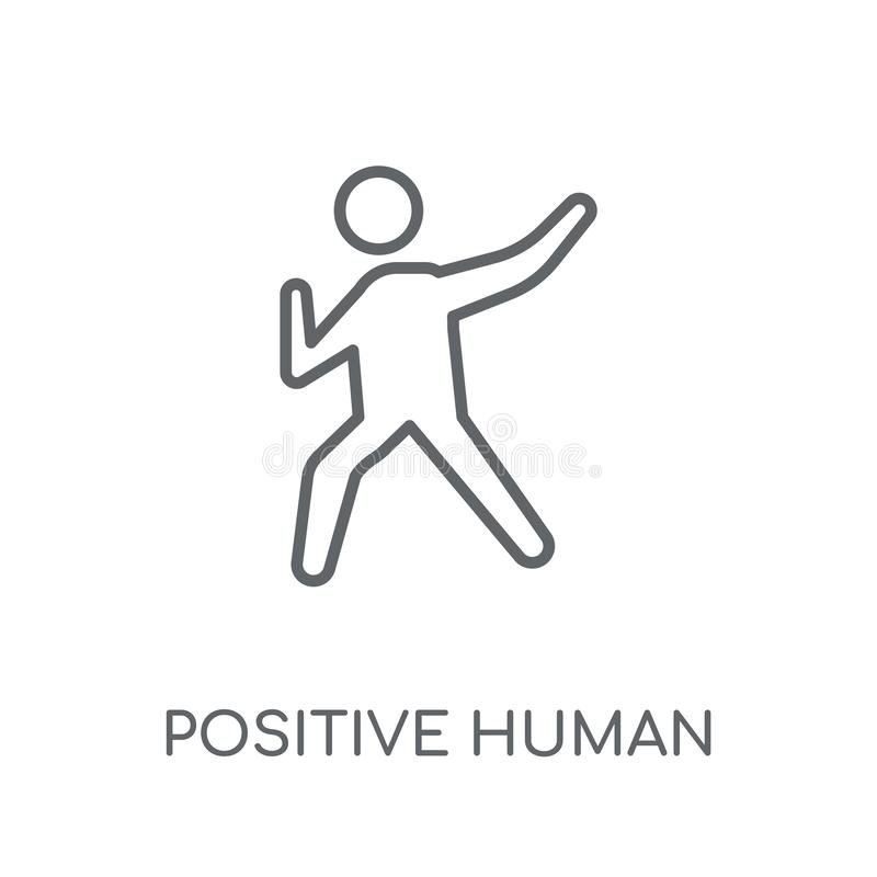 Positive human linear icon. Modern outline positive human logo c. Oncept on white background from Feelings collection. Suitable for use on web apps, mobile apps vector illustration