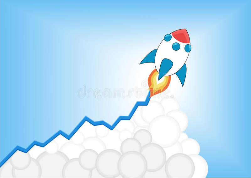 Positive increasing growth chart with launching cartoon rocket as infographic. vector illustration
