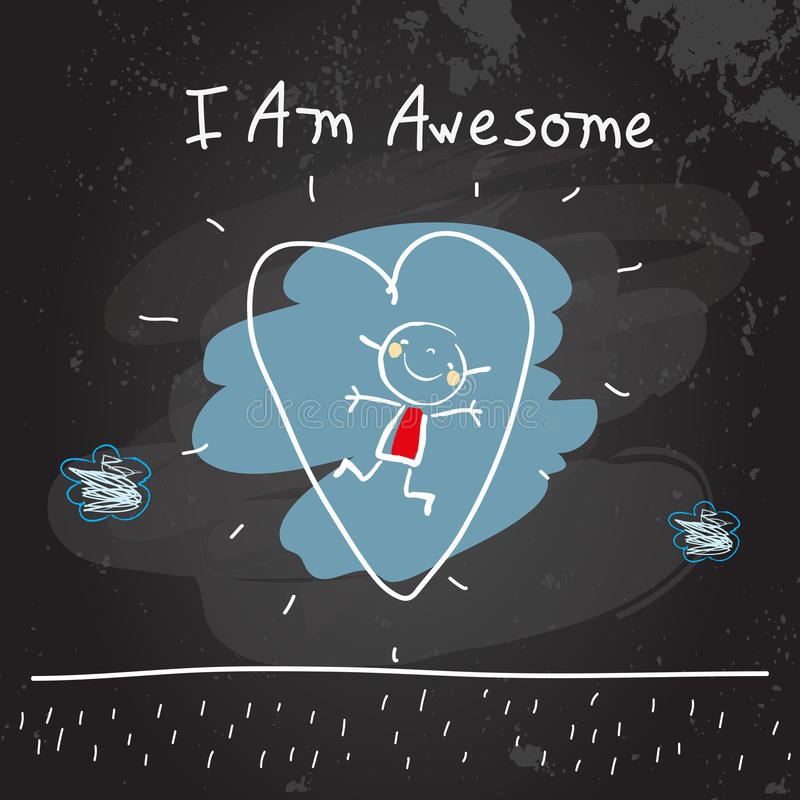Positive kids affirmations I am awesome. Positive affirmations for kids, motivational, inspirational concept vector illustration. I am awesome text, typography stock illustration