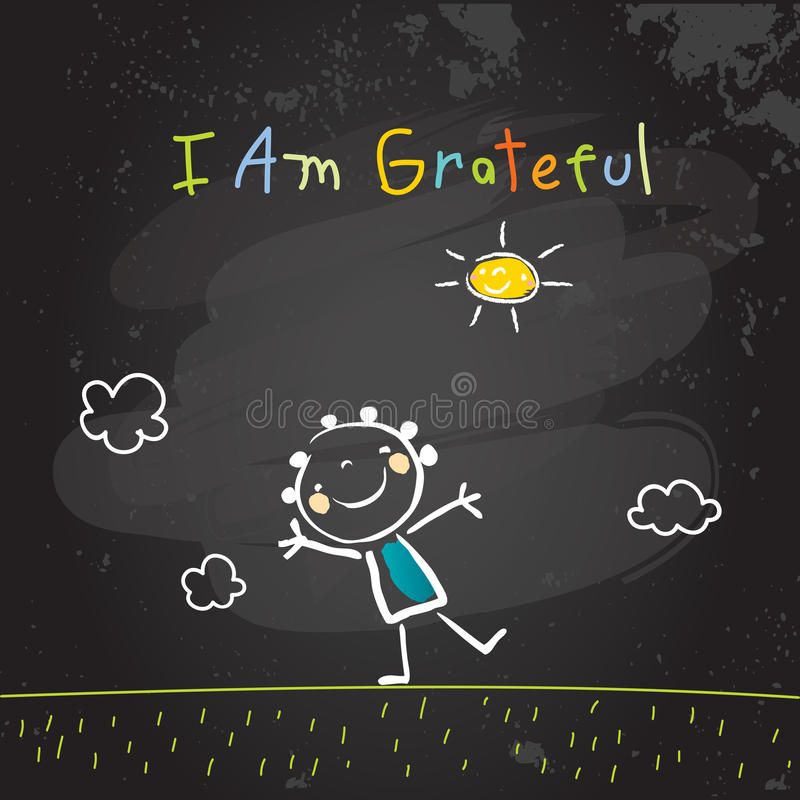 Positive kids affirmations, I am grateful stock illustration