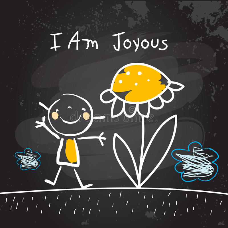 Positive kids affirmations, I am joyous royalty free illustration