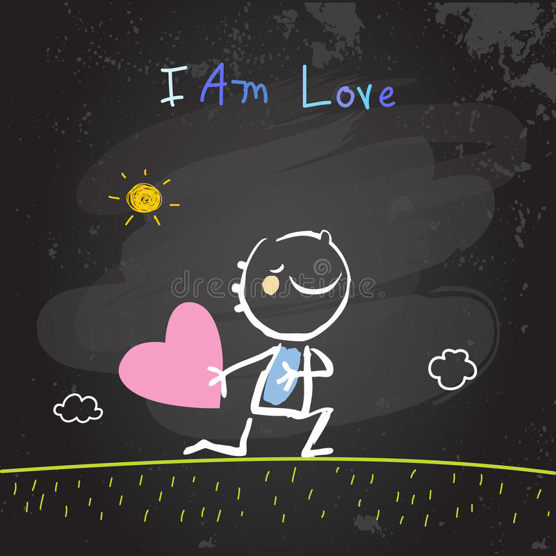 Positive kids affirmations, I am Love stock illustration
