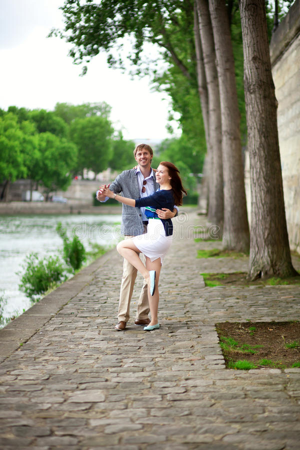 Positive Laughing Couple Is Dancing Outdoors Royalty Free Stock Photo